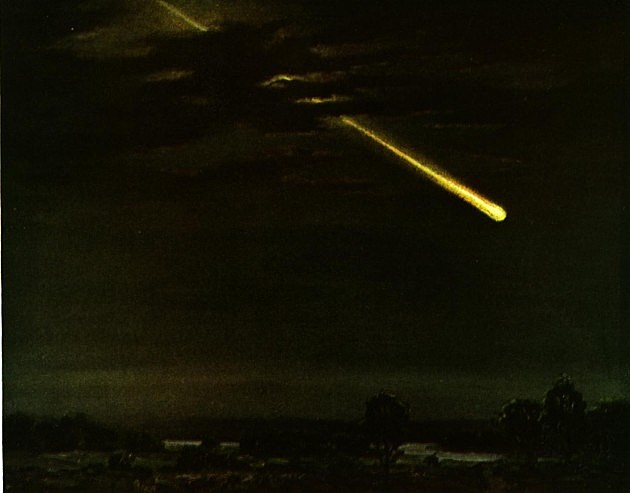 meteor over city illustration