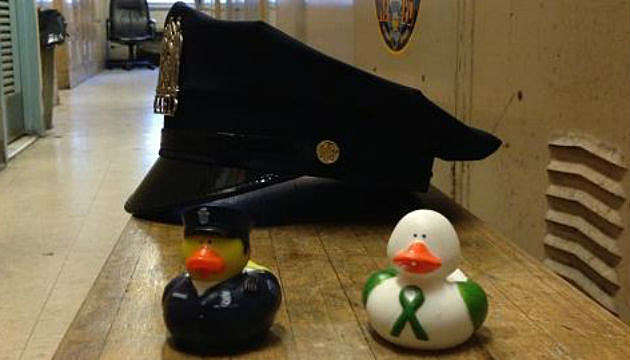 Rubber Duck Police hat before patrol