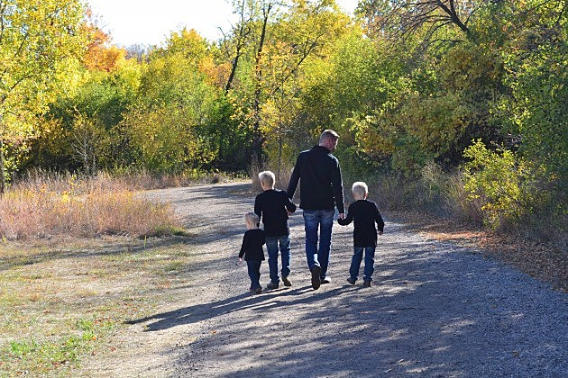 Dan and the kids walk at Outdoor campus