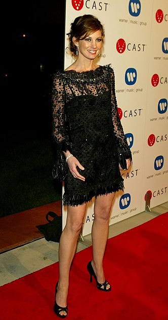 Musician Faith Hill arrives to the Warner Music Group Post-Grammy Party at the Pacific Design Center on February 13, 2005 in West Hollywood, California.