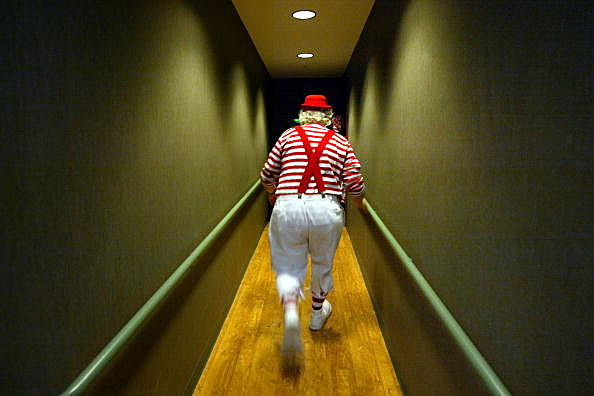 clown walking away