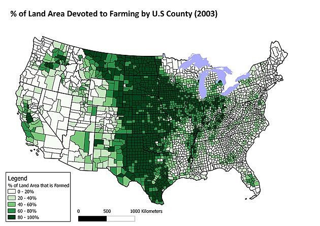 Percentage of Land Area Devoted to Farming. Source: Maptitude