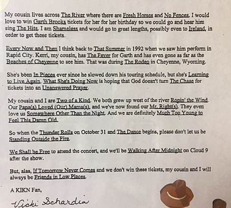 Letter to Kickin' Country 1997